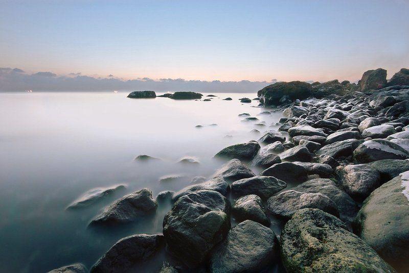 черное море, утро, рассвет, пейзаж, камни photo preview
