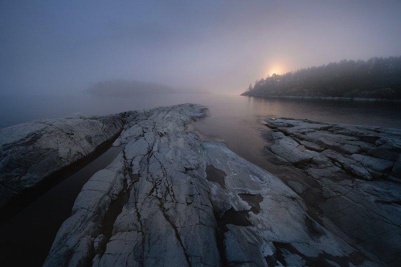 Карелия, Ладожское озеро, шхеры, ночное фото, луна \