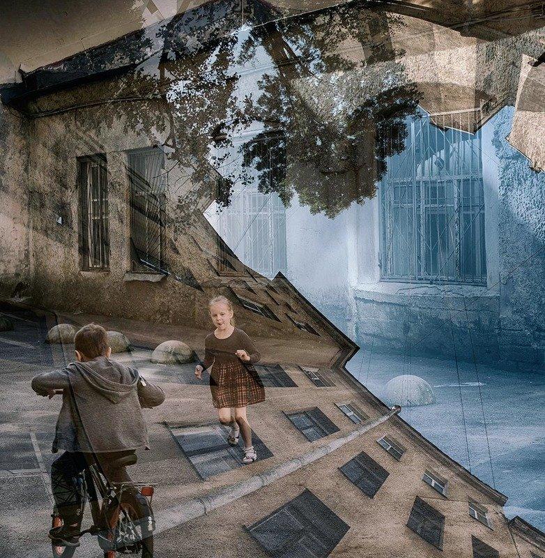 санкт-петербург, васильевский остров, дворы, дети Дети в городеphoto preview