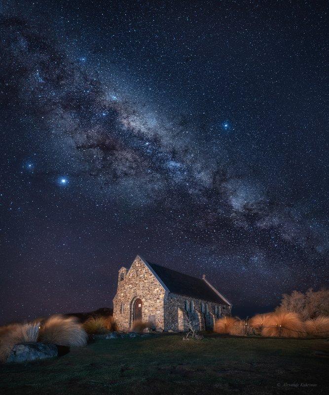 новая зеландия,текапо,ночь,звёзды,млечный путь Церковь Доброго Пастыря...photo preview