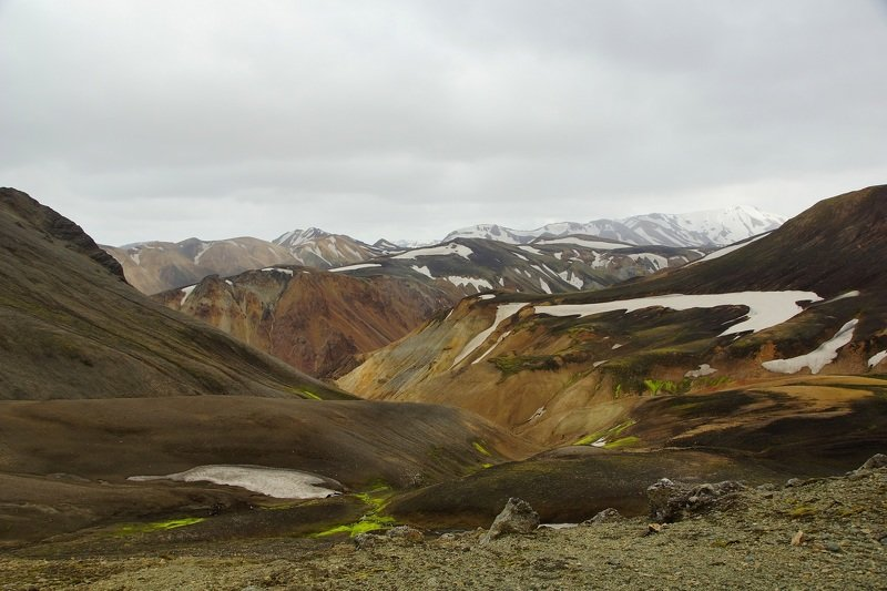 mountain, hike, landscape, morning, top, relief, snow Landmannalaugarphoto preview