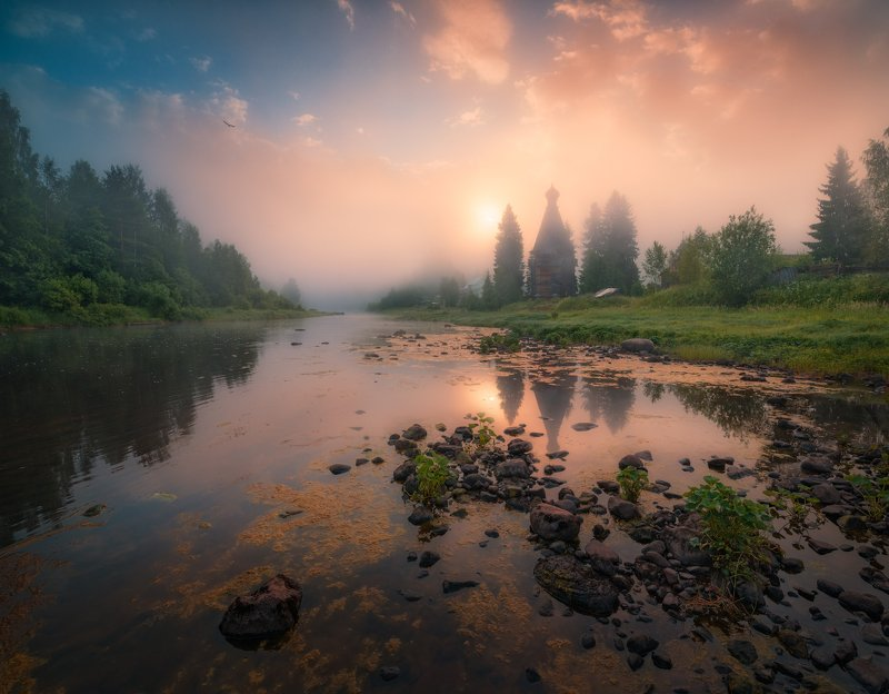 утро, солнце, туман, россия, река, церковь, вода Немножко туманной мистикиphoto preview