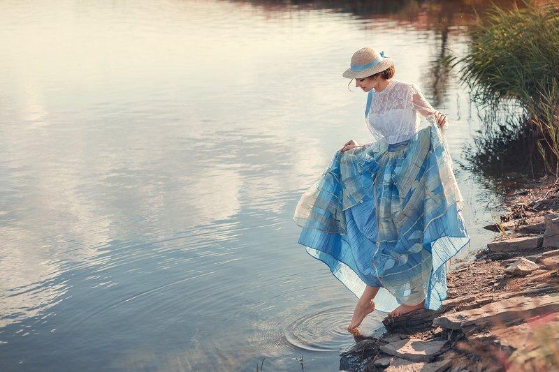 постановочная фотография, лето, портреты, ретро, артфото, девушка, поле, озеро, девушка в шляпке, романтика, Летняя мечта или моя Скарлеттphoto preview