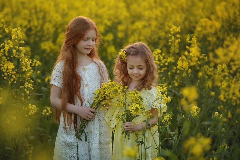 детский портрет, дети, детская фотография, рапсовые поля, желтые поля, рапс, цветы РАПСодияphoto preview