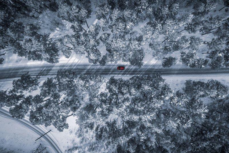 квадрокоптер лес зима россия сибирь машина авто Сибирский лесphoto preview