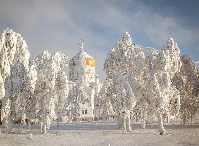 пейзаж, мороз, иней, храм. Морозное утро.photo preview
