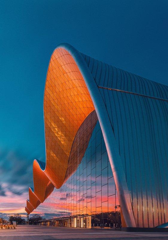 закат, архитектура, москва, город Дворец Гимнастикиphoto preview