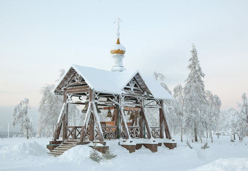 пейзаж, мороз, иней, колокола Морозный деньphoto preview