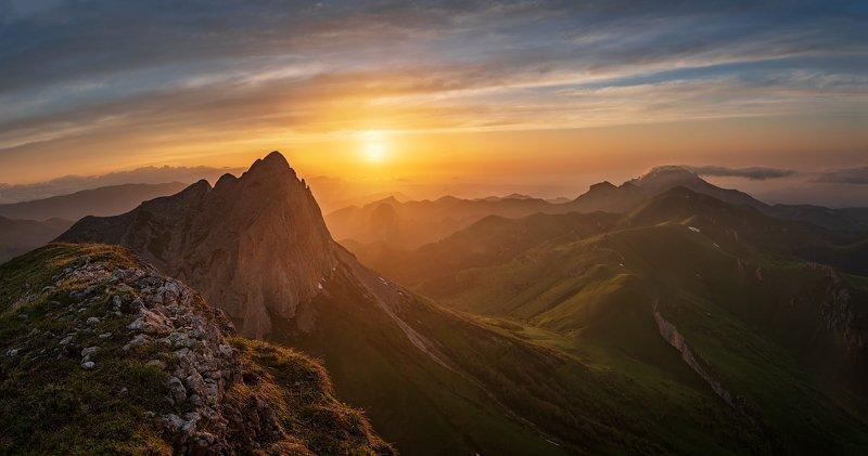 закат, большой тхач, малый тхач, асбестная, горы, пейзаж, рассвет, кавказ, адыгея, ачешбоки, На закатеphoto preview
