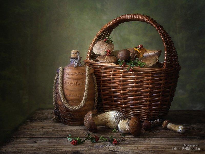 натюрморт, грибы, лето, корзина, винтажный натюрморт,  Грибной сезонphoto preview