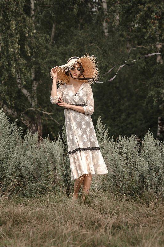 лето в деревне, фэшн, соломенная шляпа Катяphoto preview