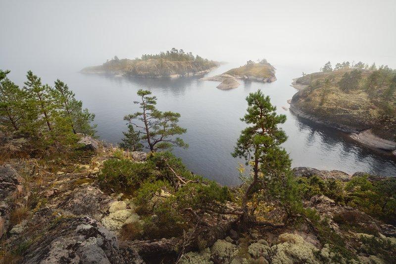 Ладожское озеро, туман, шхеры, острова, Карелия \