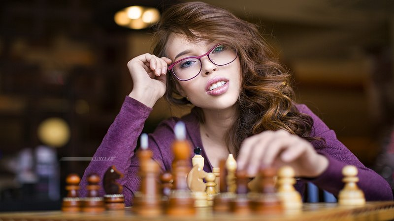 woman, eyeglasses, chess, portrait Chessphoto preview