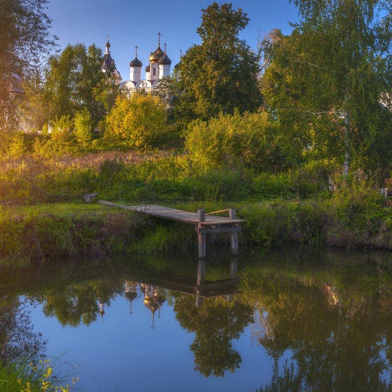 осень,пруд,храм,закат,пейзаж,природа,подмосковье ***photo preview
