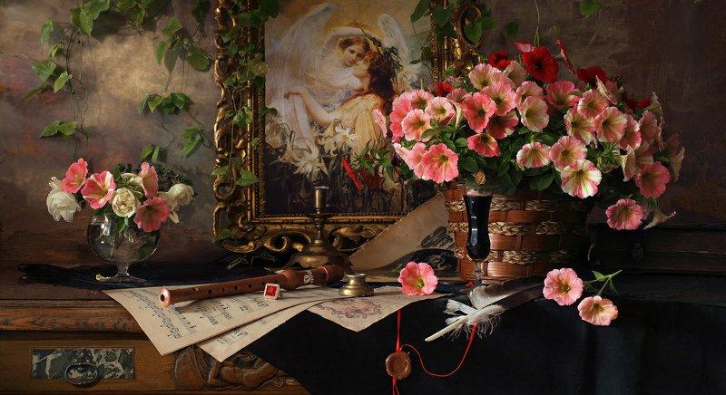 цветы, картина, живопись, лето, натюрморт, девушка Натюрморт с цветами и картинойphoto preview