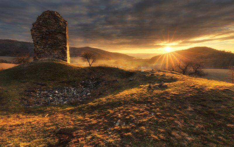 landscape, sunset, castle, sun Brníčkophoto preview