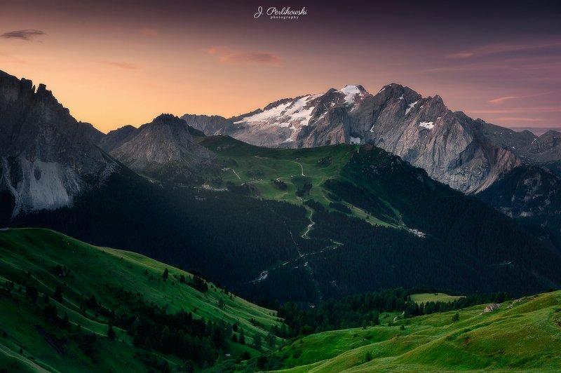 dolomites, italy, morning, light, shadows, landscape, sunrise Summer morningphoto preview