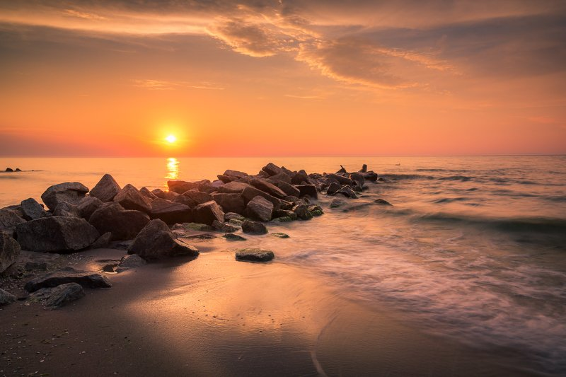baltic, sea, water, waves, sunset, stone, Baltic sunsetphoto preview