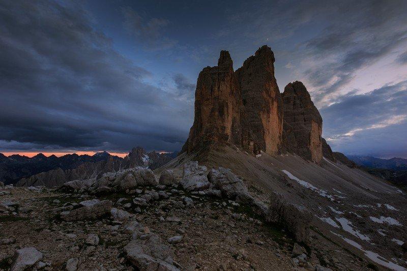 tre cime di lavaredo, италия, доломиты, горы, закат, облака Tre Cime di Lavaredo.photo preview