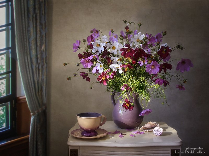 натюрморт, цветочный, винтажный, букет, космея, лето В лучах утреннего солнцаphoto preview