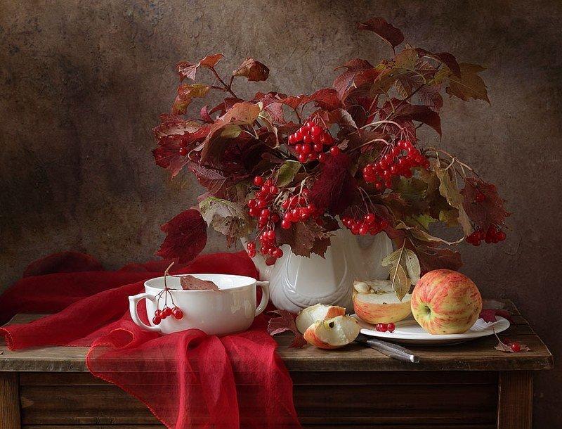 калина, яблоко, ветка, осень, натюрморт С калинойphoto preview