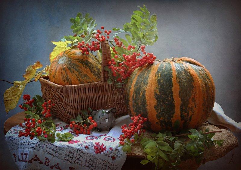осень, тыквы, рябина, керамика, мышь Нескучной осени :) фото превью