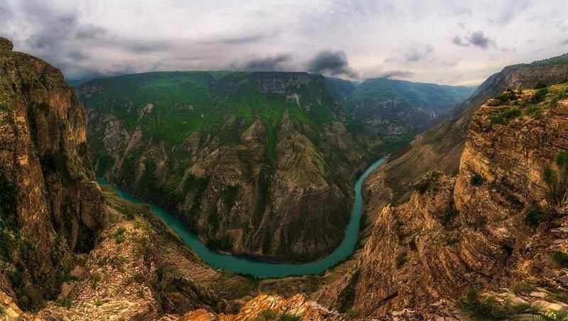 природа, пейзаж, север, кольский, панорама, природа россии, дикая природа, закат, свет, облака, вечер, тундра Сулакский каньонphoto preview