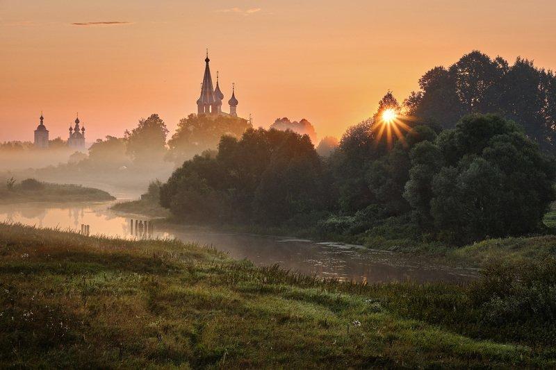 утро, река, рассвет, туман, дунилово, деревня Восходящее солнце в Дунилово фото превью