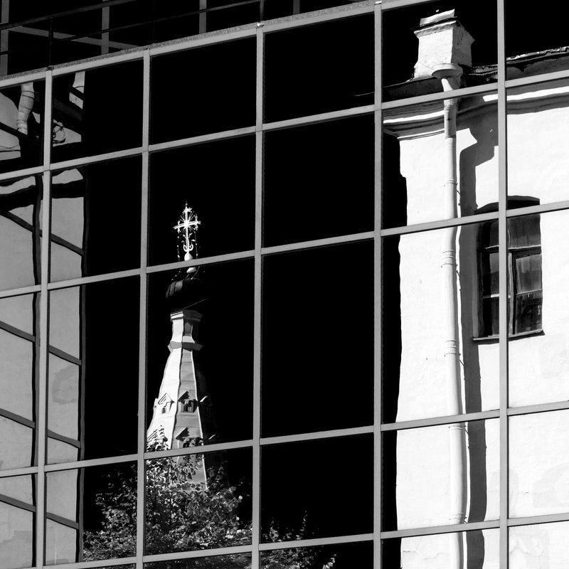 чёрно-белое, отражения, город, сампсониевский собор, петербург Питерское зазеркальеphoto preview