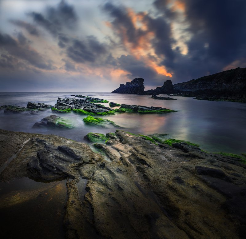 landscape nature scenery sea light sunlight morning sunrise down waves rocks clouds colors view sky  пейзаж море рассвет Morning palettephoto preview