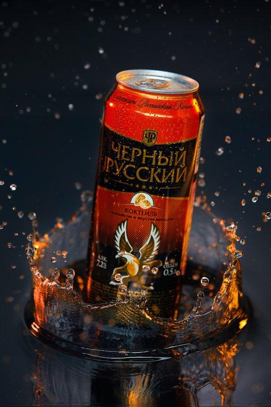 МихаилСеменов, semenovreklama, Aqualight, реклама, имидж, предметка, черныйрусский, коктейль, банка, пиво Черный русскийphoto preview