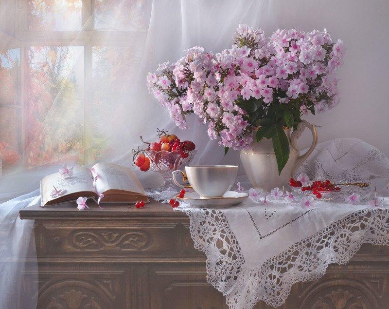 still life, натюрморт, сентябрь, флоксы, настроение, виноград, красная смородина, книга, фарфор Я в осень шагну, как в родную обитель... фото превью