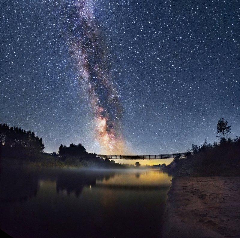 Кильмезь, Млечный Путь, река, ночная река, пейзаж, Удмуртия, отражение в реке  Река Кильмезь и Млечный путь photo preview