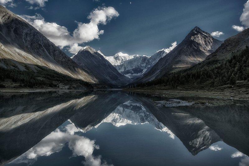 пейзаж, алтай, белуха,горы, вечер,отражение,озеро photo preview
