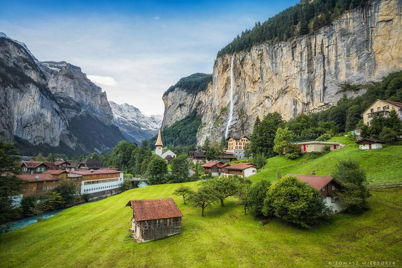 alps, switzerland, landscape, sunrise, sunset, colours, awesome, amazing, adventure, travel, beautiful, morning, waterfall, mountains Lauterbrunnen фото превью