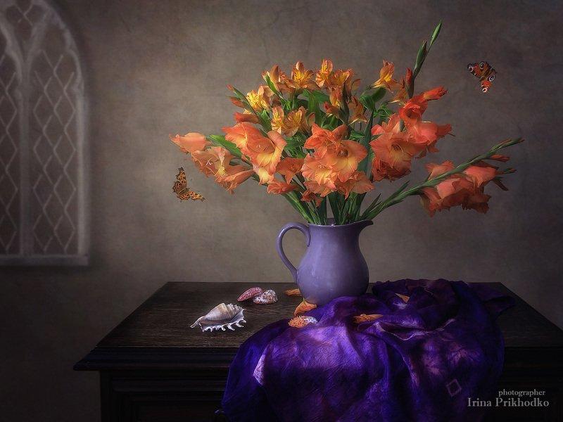 натюрморт, цветочный, ретро, букет, гладиолусы, перуанские лилии, бабочки Натюрморт с перуанскими лилиями и гладиолусамиphoto preview