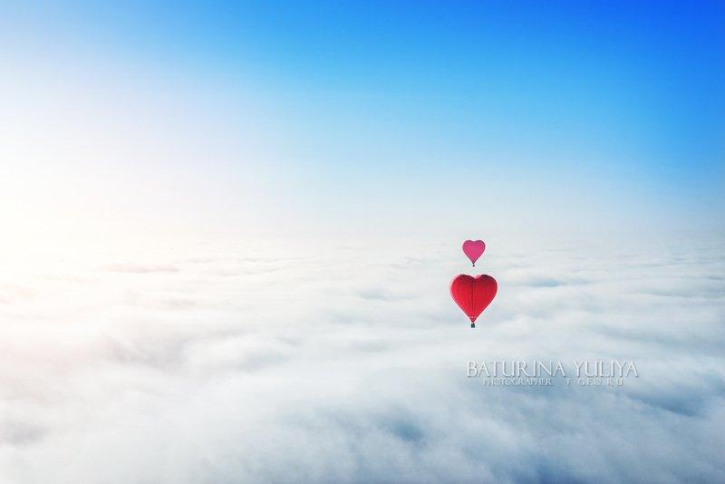 воздушный шар, воздухоплавание, полет Два сердцаphoto preview