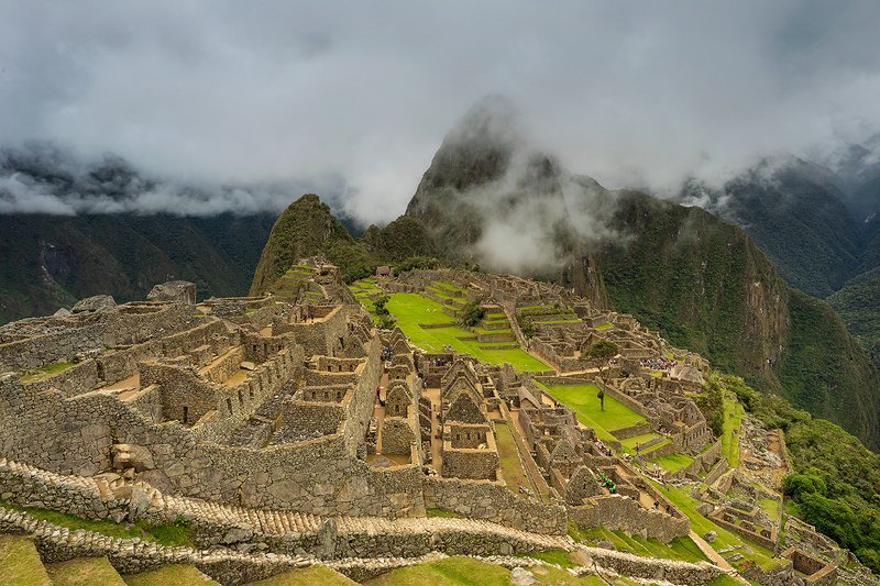 South America, Peru,  Machu Picchu, mountain ridge, dramatic sky, Andes, ancient civilization Panoramic view on the Old Ruins of Machu Picchu. Sacred Valley of inca. photo preview