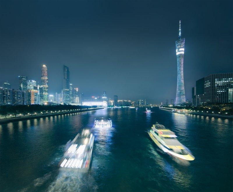 город, китай, ночь, гуанчжоу, guangzhou Pearl River Boatsphoto preview