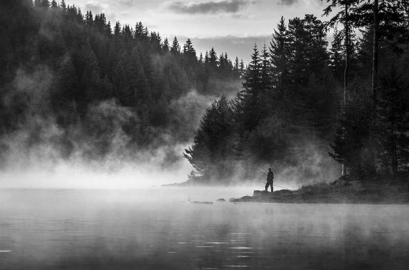 landscape, nature, scenery, lake, wood, mist, misty, fog, foggy, fishing, light, sunlight, morning, sunrise, mountain, dam, rhodopi, bulgaria, туман, озеро The earlier the betterphoto preview