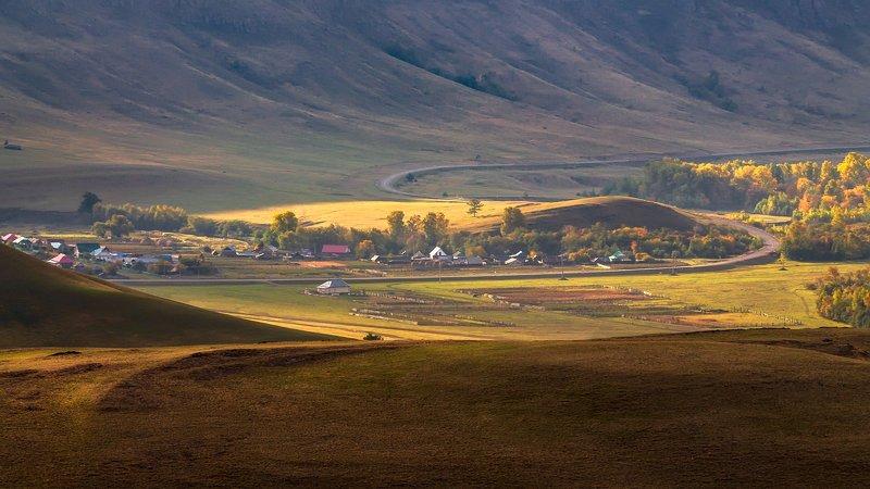утро, рассвет, восход, туман, лучи Дорога в осеньphoto preview