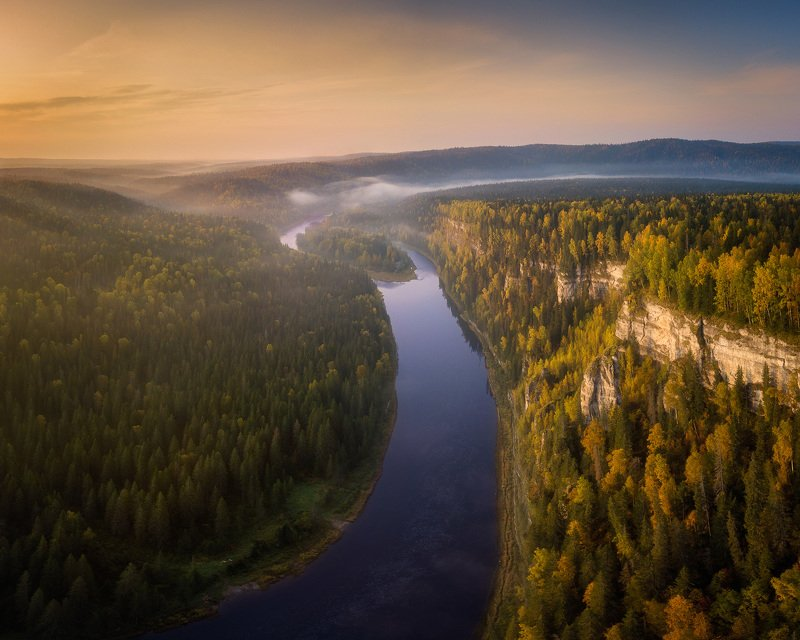 пермский край, усьва, золотая осень, осенний лес, осенний пейзаж, река, россия, туман, чертов палец,усьвинские столбы, аэрофото, mavic pro, панорама Золотая осень на Усьвеphoto preview