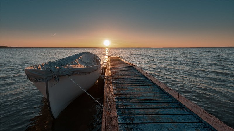 sunset, boat, lake, Cinelike sunsetphoto preview