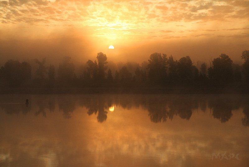 пейзаж  утро туман  река белая башкортостан Утро Сентября.photo preview