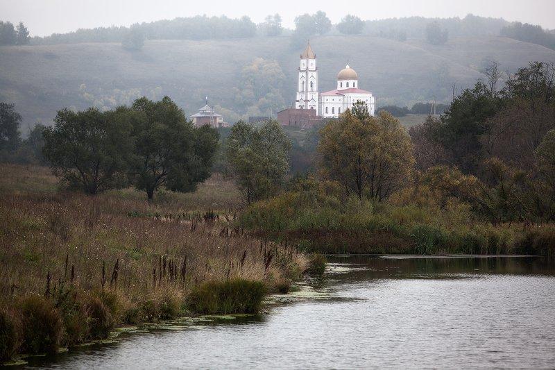 пейзаж,лес,озеро,храм,купола,туман Храм.photo preview