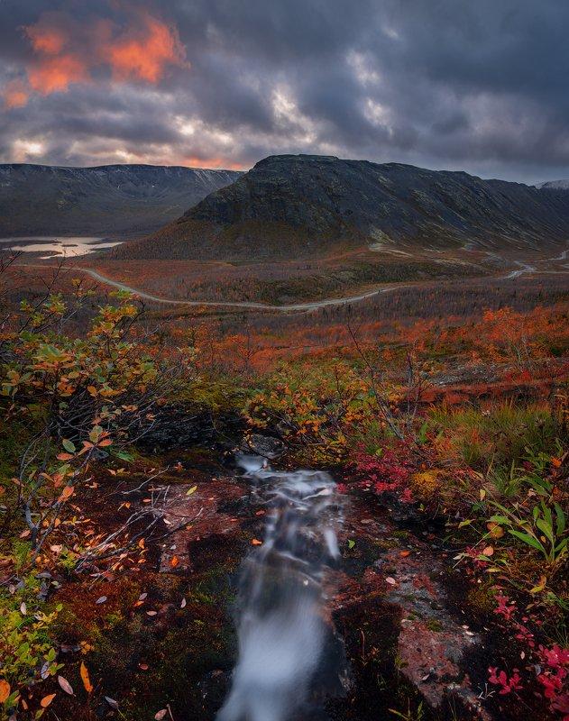 пейзаж,осень,хибины,закат,вода,ручей photo preview