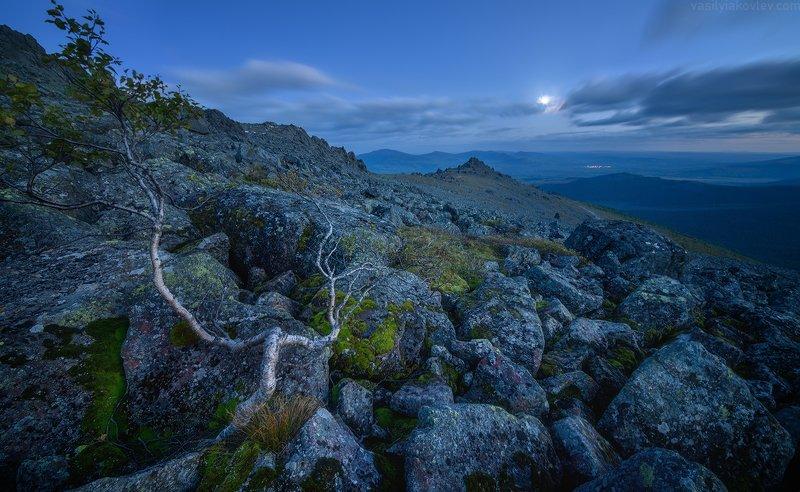 урал, горы, ночь Вечер на склонах Серебрянского камняphoto preview