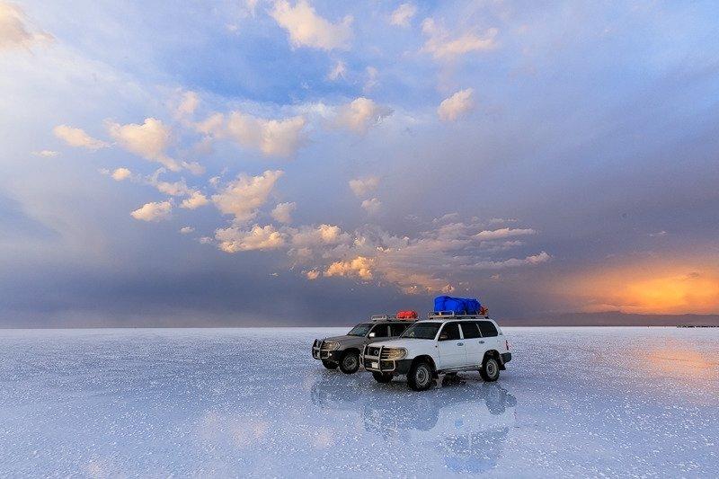 Altiplano, South America, Uyunu, Bolivia Salt flat of Uyunu at sunset. Altiplano, South Americaphoto preview