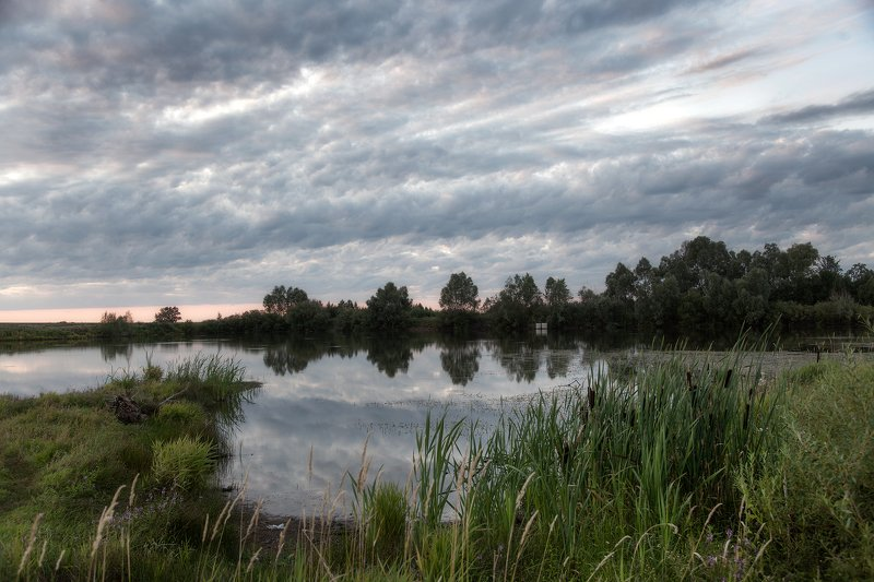 пейзаж,озеро,вечер,закат,облака,камыши Вечер на озереphoto preview