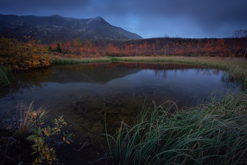 пейзаж,хибины,кольский,вечер,озеро,отражение,осень photo preview